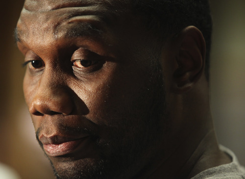 Lennie Mahler  |  The Salt Lake Tribune Al Jefferson speaks to the media during locker clean-out day Tuesday, May 8, 2012, at EnergySolutions Arena. The San Antonio Spurs swept the Jazz out of the playoffs in the first round.