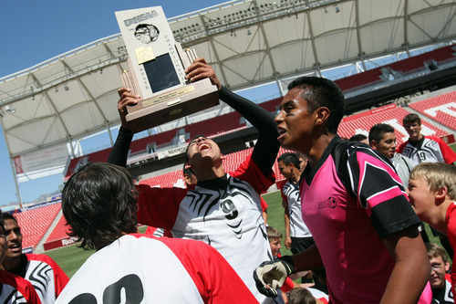 Chris Detrick  |  The Salt Lake Tribune Manti's Carlo Garcia (9) celebrates after winning the 2A soccer championship game at Rio Tinto Stadium Saturday May 12, 2012. Manti won the game 3-2.