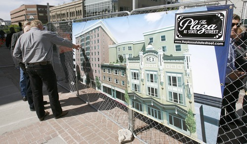 Paul Fraughton | The Salt Lake Tribune Salt Lake City officials and The La Porte Group celebrated the start of construction Friday for a project at 237 S. State St. that will transform dilapidated  hotels into stylish but affordable housing, shops and cafes surrounding a European-style plaza. Pictured, a rendering of The Plaza at State Street project.