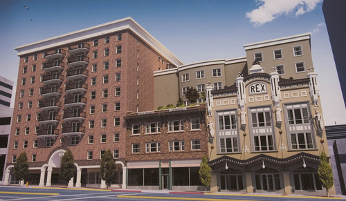 Paul Fraughton | Salt Lake Tribune An architectural rendering showing the front facade  of  The Plaza at State Street, a $34 million high-rise residential and commercial development planned at 237 S. State St. in Salt Lake City.