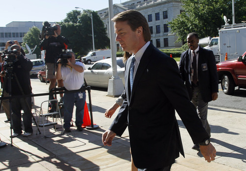 Former presidential candidate and Sen. John Edwards arrives at a federal courthouse in Greensboro, N.C., Friday, May 11, 2012. Prosecutors rested their case Thursday. Defense lawyers for John Edwards will ask a judge Friday to dismiss corruption charges against their client, arguing prosecutors failed to prove the former U.S. presidential candidate intentionally violated the law.  (AP Photo/Gerry Broome)