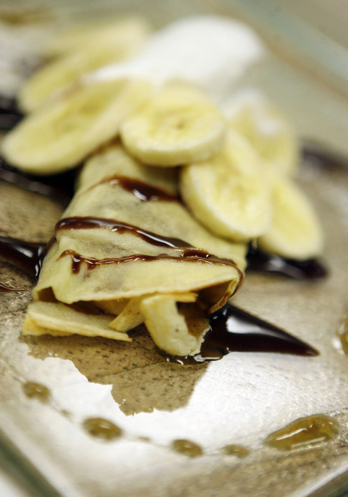 Francisco Kjolseth  |  The Salt Lake Tribune Nutella and banana crepes are a favorite of Jeffrey de Leon, executive pastry chef at the Grand America in Salt Lake City.