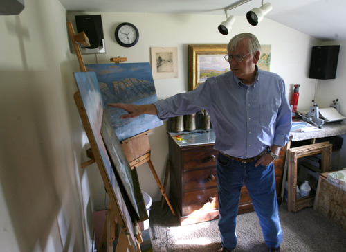 Steve Griffin  |  The Salt Lake Tribune Milton Hanks, mayor of Eureka, in his small studio. His two loves are painting and sailing --though lately he has been deeply involved in politics.