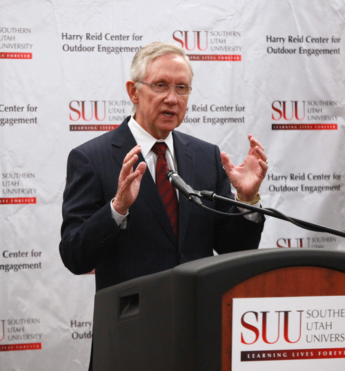 Sen. Harry Reid answers a question at a press conference which was held after the convocation at SUU on Thursday, Sept. 1, 2011. Credit SUU Photo Services
