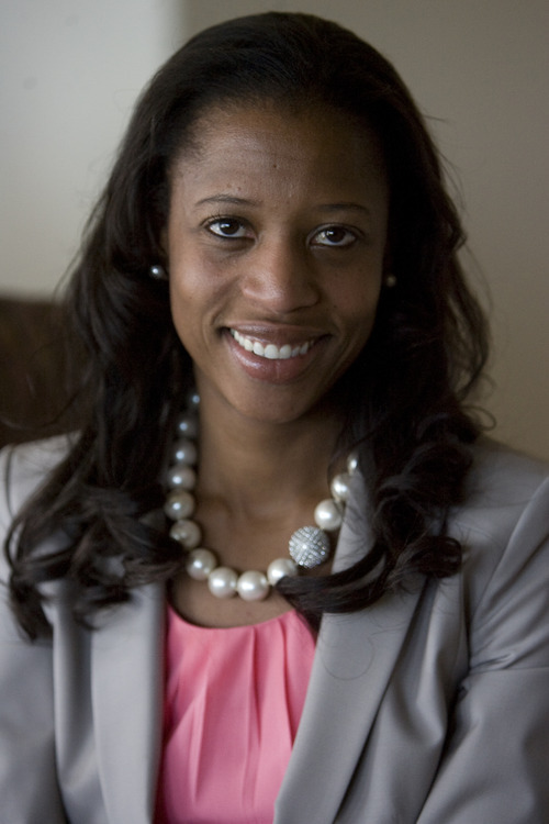 Kim Raff   The Salt Lake Tribune Mia Love is in the 4th Congressional race with Jim Matheson.  She is photographed in her home in Saratoga Springs, Utah on May 4, 2012.