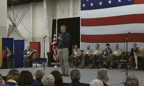 Robert Gehrke     The Salt Lake Tribune U.S. Rep. Jim Matheson is running for a seventh term in Congress, this time in the newly drawn 4th District. Matheson gave introductory remarks and met with Boy Scouts and scoutmasters at the annual Scout-O-Rama in Sandy on May 4.