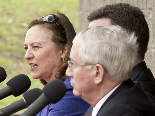 This April 15, 2012, photo, shows state Sen. Deb Fischer, left, during a debate against state Treasurer Don Stenberg, right, and state Attorney General Jon Bruning, right rear, in Omaha, Neb. The three top Republicans vying for Nebraska's U.S. Senate nomination scrambled through a final full day of campaigning on Monday, May 14, 2012, as the race appeared to tighten and election officials predicted above-average turnout for the nationally-watched contest. (AP Photo/Nati Harnik)