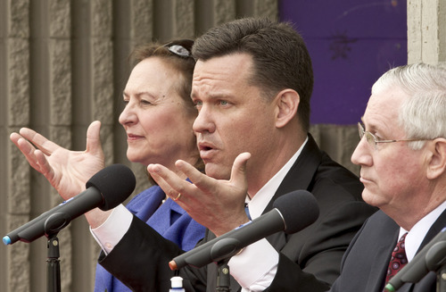 In this April 15, 2012 photo, state Attorney General Jon Bruning, center, participates in a debate against state Treasurer Don Stenberg, right, and state Sen. Deb Fischer, left, in Omaha, Neb. The three top Republicans vying for Nebraska's U.S. Senate nomination scrambled through a final full day of campaigning on Monday, May 14, 2012, as the race appeared to tighten and election officials predicted above-average turnout for the nationally watched contest. (AP Photo/Nati Harnik)