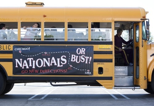 "GLEE: Sue (Jane Lynch, R) drives the glee club to Nationals in the second hour of a special two-hour ""Props/Nationals"" episode of GLEE airing Tuesday, May 15 (8:00-10:00 PM ET/PT) on FOX. ©2012 Fox Broadcasting Co. Cr: Adam Rose/FOX"
