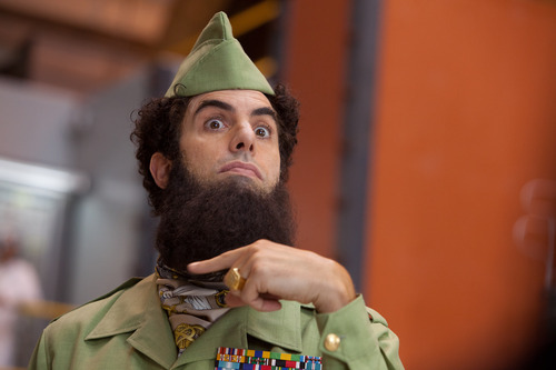 Sacha Baron Cohen portrays Admiral General Aladeen in