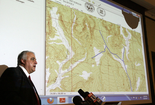 Steve Griffin/The Salt Lake Tribune Harry Souvall, of the Utah Attorney General's Office, talks about why the state and counties are filing lawsuits to ask the courts recognize  public titles to thousands of roads in Utah during news conference Tuesday at the state Capitol in Salt Lake City.