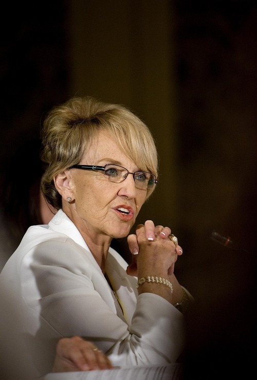 Djamila Grossman  |  Tribune file photo  Arizona Gov. Jan Brewer vetoed that state's legislation to demand the federal government turn over control of millions of acres of public lands to the state. The bill was similar to the Utah law passed and signed earlier this year. Brewer said it was unconstitutional, didn't recognized the rights of federal lease holders and would cost state taxpayers millions of dollars that weren't appropriated by the Legislature.