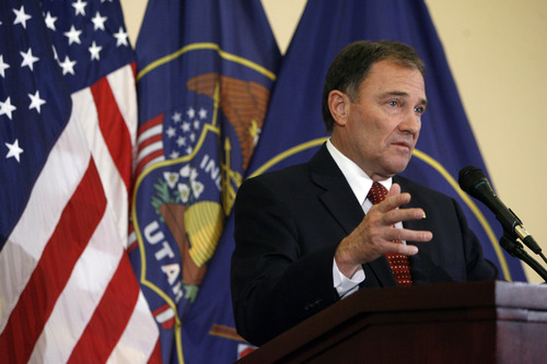 Francisco Kjolseth  |  The Salt Lake Tribune Gov. Gary Herbert holds a news conference Tuesday at the Capitol where he announced he had fired Department of Technology Services director Stephen Fletcher for lack of