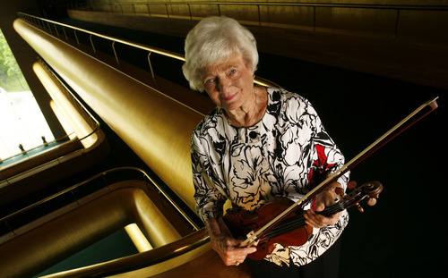Francisco Kjolseth  |  The Salt Lake Tribune Utah Symphony violinist Frances Darger, seen at Abravanel Hall on Wednesday, May 16, 2012, is retiring after 70 years with the orchestra.