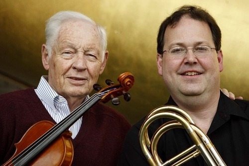 Trent Nelson  |  The Salt Lake Tribune Utah Symphony violinist Jack Ashton, left, and bass trombonist Russell McKinney, two members of the Utah Symphony who spread their influence far and wide in the Utah musical community.