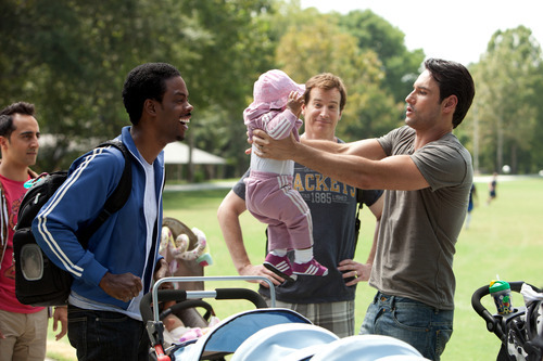 In this film image released by Lionsgate, Chris Rock, left, and Rodrigo Santoro, right, are shown in a scene from