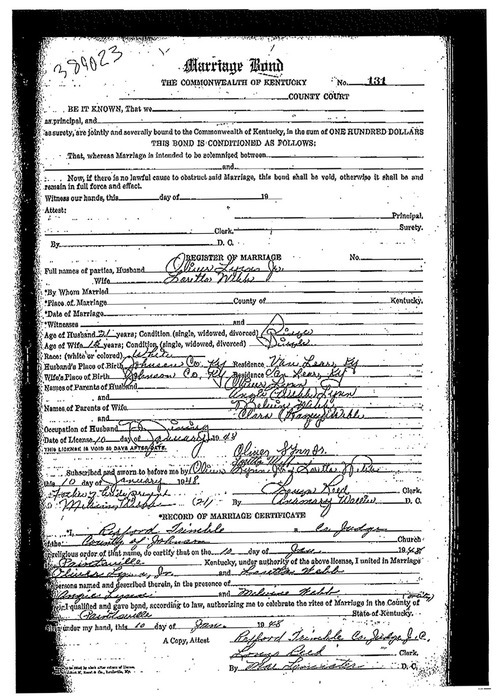 An undated image provided by the Johnson County, Ky., clerk's office shows Loretta Lynn's marriage certificate for her marriage to Oliver Vanetta Lynn, Jr. Newly discovered documents indicate country music legend Lynn is three years older than she has led people to believe, a change that casts shadows on the story told in