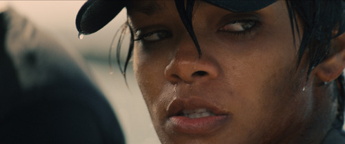 In this film publicity image released by Universal Pictures, Rihanna is shown in a scene from