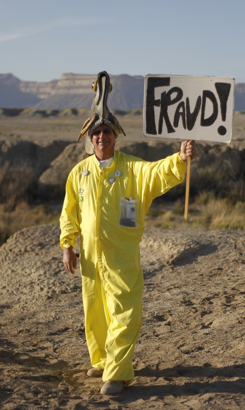 Kim Raff | The Salt Lake Tribune John Weisheit poses for a portrait during a rally near the proposed construction site for nuclear reactors in Green River, Utah on May 19, 2012.
