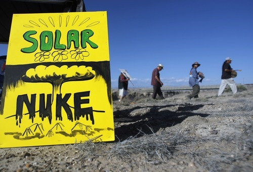 Kim Raff | The Salt Lake Tribune Protesters have a parade during a rally near the proposed construction site for nuclear reactors in Green River, Utah on May 19, 2012.