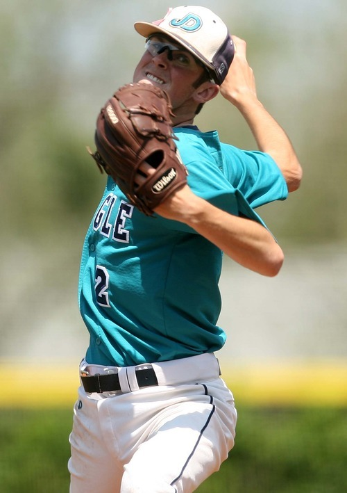 Leah Hogsten  |  The Salt Lake Tribune Juan Diego pitcher Ryan Green. Snow Canyon High School boys baseball team defeated Juan Diego during their final 3A State Championship Game 5-1 Saturday, May 19 2012 in Kearns.