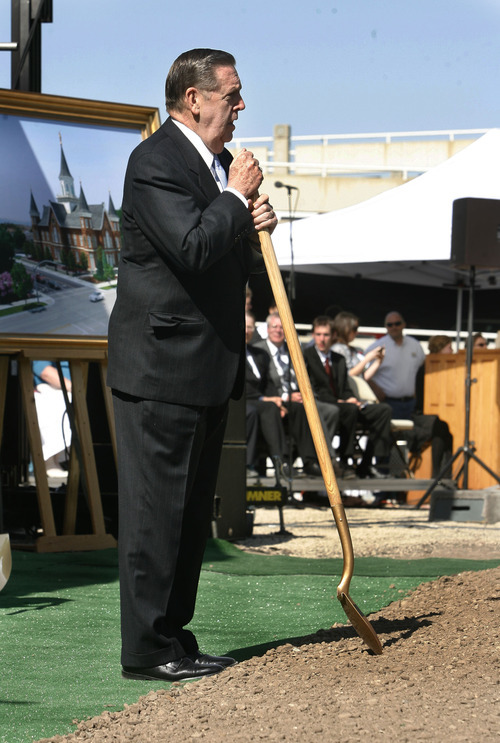 Scott Sommerdorf  |  The Salt Lake Tribune              Elder Jeffrey R. Holland of the Quorum of the Twelve speaks on Saturday as the LDS Church broke ground for the Provo City Center Temple, formerly known as the Provo Tabernacle.
