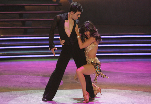 Gev Manoukian, left, and Courtney Galiano perform the Cah-Cha choreographed by Anya and Pasha on