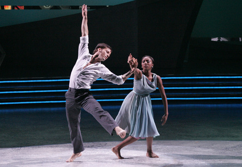 Thayne Jasperson, left, and Comfort Fedoke perform a contemporary routine choreographed by Mandy Moore on