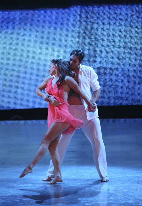 Ashleigh Di Lello, left, and Ryan Di Lello perform a contemporary routine choreographed by Travis Wall on