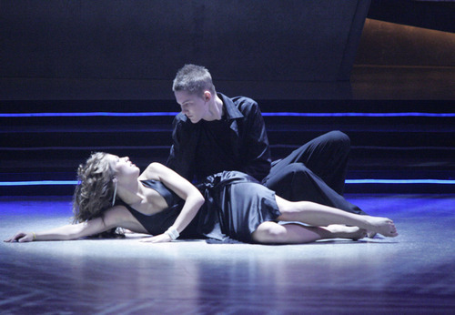 Allison Holker, left, and Ivan Koumaev perform a contemporary routine on
