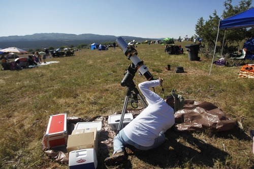 Kim Raff | The Salt Lake Tribune Edward Dadurka, who traveled from Virginia, sets up his telescope in the viewing area for the annular solar eclipse in Kanarraville, Utah on May 20, 2012.