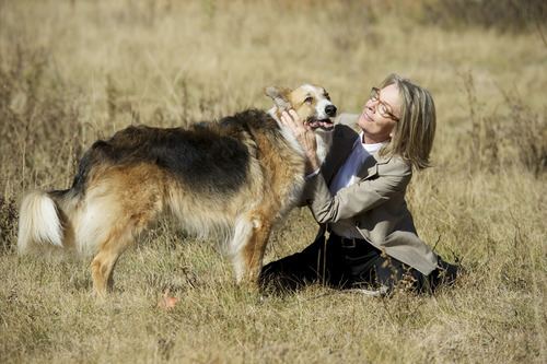 Beth (Diane Keaton) bonds with her dog Freeway, in the comedy-drama