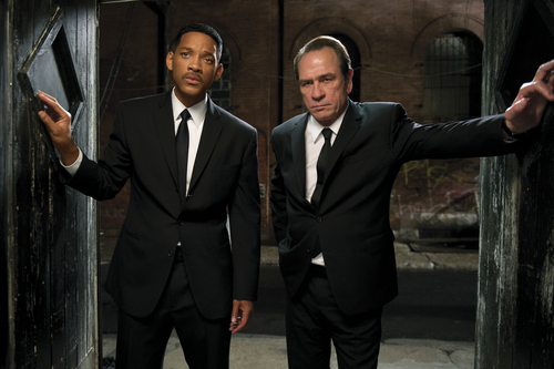 In this film image released by Sony Pictures, Tommy Lee Jones, right, and Will Smith star are shown in a scene from