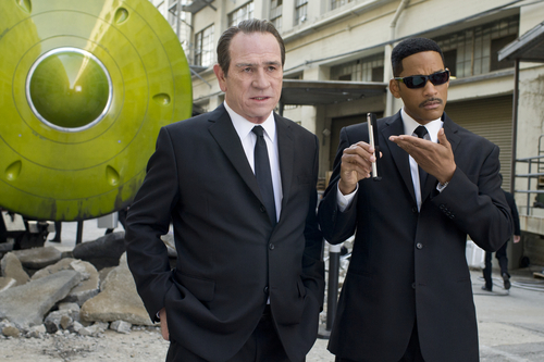 In this film image released by Sony Pictures, Tommy Lee Jones, left, and Will Smith star are shown in a scene from