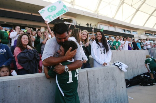 Kim Raff | The Salt Lake Tribune Olympus player Tyler Ford hugs his father Kevin Ford after defeating  Murray 3-2 during the 4A State Championship game at Rio Tinto Stadium in Sandy, Utah on May 24, 2012.