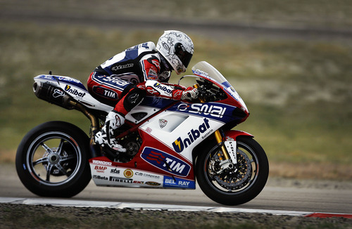 Scott Sommerdorf  |  The Salt Lake Tribune              Carlos Checa during FIM Superbike World Championship Qualifying practice at Miller Motorsports Park, Saturday, May 26, 2012.