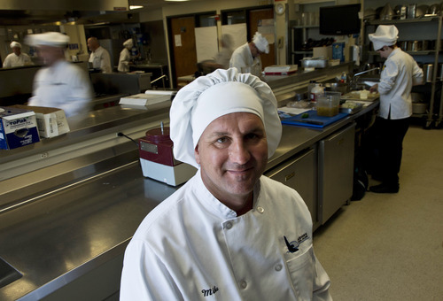 Mike Szlamczynski at the Blackhawk Tech College in Janesville, Wis. After 15 years on the Chrysler line, the autoworker took a buyout, returned to college at age 41 and studied to be a chef. He wanted financial security, no more layoffs, no more fears of losing it all.