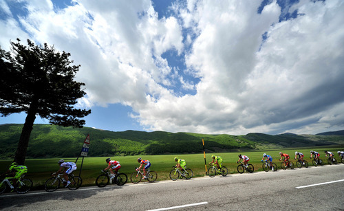 Cyclists ride through the countryside during the eight stage of the Giro d'Italia, Tour of Italy cycling race, from Sulmona to Lago Laceno, Sunday, May 13, 2012. (AP Photto/Daniele Badolato)