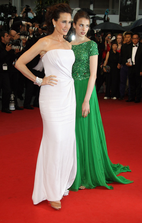 Actress Andie MacDowell, left, and her daughter Sarah Qualley arrive for the awards ceremony at the 65th international film festival, in Cannes, southern France, Sunday, May 27, 2012. (AP Photo/Joel Ryan)