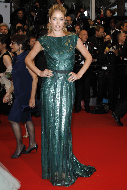 Model Doutzen Kroes arrives for the screening of Cosmopolis at the 65th international film festival, in Cannes, southern France, Friday, May 25, 2012. (AP Photo/Joel Ryan)