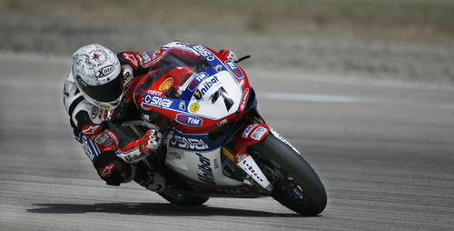 Scott Sommerdorf     The Salt Lake Tribune              Carlos Checa coming out of the Witchcraft turn on his way to winning FIM Superbike World Championship Race One, Monday, May 28, 2012.