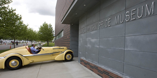 Paul Fraughton | Salt Lake Tribune John Carefoot drives he Mormon Meteor I  to the open door of the  Utah Museum of Fine Arts in Salt Lake City on Wednesday, May 23, 2012. The car is one of 19 classic cars that will be featured in an upcoming exhibit at the museum.