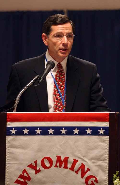 ** FILE ** Wyoming state Sen. John Barrasso, a surgeon from Casper,  speaks at a  Wyoming Republican Party meeting in Casper, Wyo., Tuesday, June 19, 2007.   Wyoming Gov. Dave Freudenthal has appointed  Barrasso,  a Republican from Casper, to replace the late Craig Thomas in the U.S. Senate.  (AP Photo/Matt Young, File)