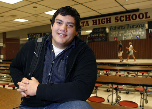 Al Hartmann  |  The Salt Lake Tribune Alta High School senior Fanueli Po'uha will graduate with honors and is part of a new rigor program in the district aimed at encouraging students to take more challenging courses to better prepare them for college and the work force.  Po'uha was a not-so-great student who made an amazing turnaround.