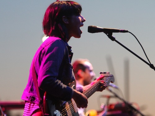 Rick Egan  | The Salt Lake Tribune   Jessica Donson sings backing vocals and plays guitar, for The Shins as the band headlines a sold-out concert at Red Butte Garden, Monday, May 28, 2012.