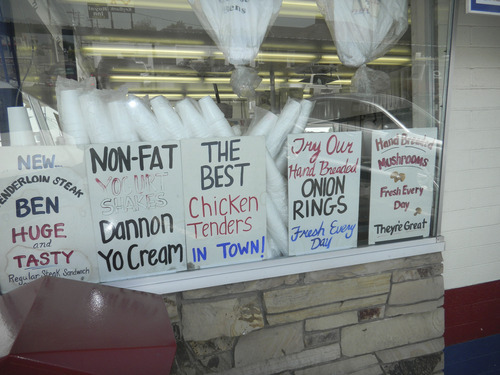 Tom Wharton  |  The Salt Lake Tribune Hand-lettered signs offer various treats at the venerable Burger Bar in Roy.