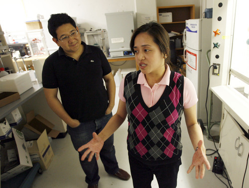Francisco Kjolseth  |  The Salt Lake Tribune Jacqueline Siy-Ronquillo and her husband Nikko Ronquillo talk about Quantum dots, which are manmade, semiconductor nanocrystals that can emit a wider range of light with less energy than existing materials, so could be used in future upgrades of solar panels, televisions, cellphones and related products -- to save energy and extend battery power.