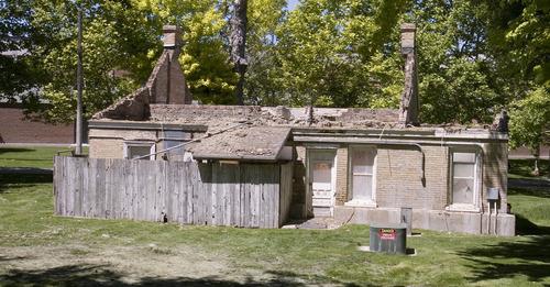 Paul Fraughton | Salt Lake Tribune Crews began dismantling the historic Bunnell home on Thursday to make way for a new student life center at Utah Valley University in Orem.