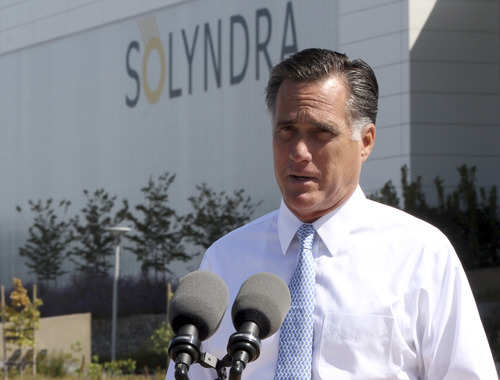 FILE - In this May 31, 2012 file photo, Republican presidential candidate, former Massachusetts Gov. Mitt Romney speaks outside the Solyndra manufacturing facility, in Fremont, Calif. Romney says Friday's jobs report is
