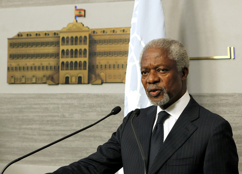 Kofi Annan, the U.N.-Arab League Joint Special Envoy for Syria, speaks during a press conference after his meeting with Lebanese Prime Minister Najib Mikati, unseen, at the governmental palace in Beirut, Lebanon, Friday, June 1, 2012. Annan said he is